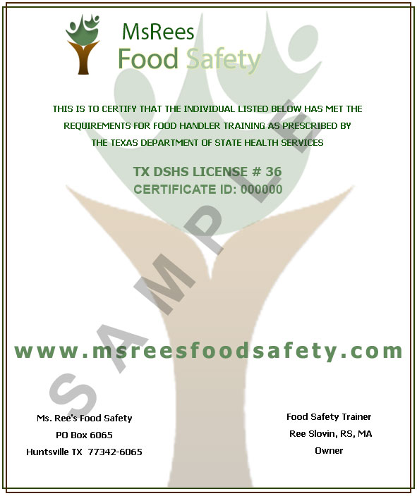 Ms Rees Food Safety – Get Your Food Safety Certificate NOW!